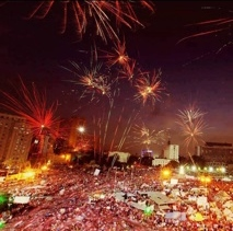 Crowds celebrating at Tahrir Square - off twitter